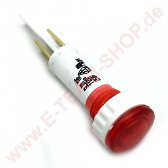 Kontrolllampe 230V rot, für Bohrung Ø 10mm, Kopf Ø 13,5mm