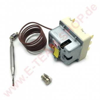 Sicherheitsthermostat 3-polig 236°C Fühler Ø 6x75mm mit Stopfbuchsenanschluss M9x1 z.B. für Fritteuse EKU, Mareno