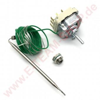 Regelthermostat 3-polig 30-110°C Fühler Ø 6x135mm Achse Ø 6x4,6mm Stopfbuchsenanschluss M9x1 mit Stopfbuchse M12x1 z.B. für Juno Roeder Senking