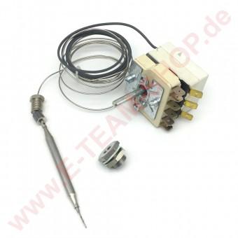 Regelthermostat 1-polig 100-185°C Fühler Ø 6x90mm mit Vorsatzschalter mit Stopfbuchsenanschluss M9x1 Stopfbuchse M12x1, z.B. für Fritteuse Capito, MKN