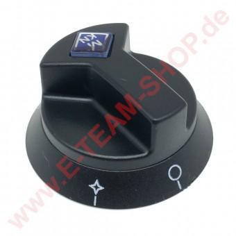 Knebel Ø 65mm Achse Ø 6x4,6mm Abflachung OBEN mit Zündflamme für Allgashahn alte Ausführung MKN