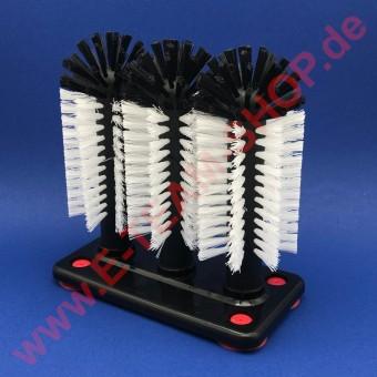 Gläserspülbürste 3x18cm Perlonbürsten, Kunststoffplatte grau oder schwarz, mit Saugnäpfen
