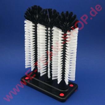 Gläserspülbürste 3x25cm Perlonbürsten, Kunststoffplatte grau oder schwarz