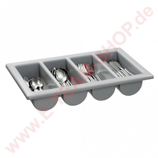 Besteck Kasten 1/1 GN, 4 Mulden, in Kunststoff, hitzebeständig, robust und stapelbar.