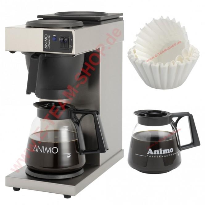 STARTER-SET Animo  Excelso Gewerbekaffeemaschine, mit 2 Glaskannen 1,8 Liter und 250 Korbfiltern