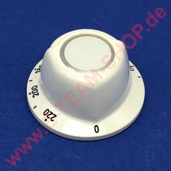 Knebel Ø 52mm 90-220°C Achse Ø 6x4,6mm Abflachung unten für Thermostat
