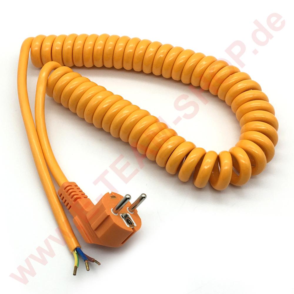 ersatzteil spiralkabel 1 5mm 3 polig mit stecker l nge 2 5m 50 u 90 c orange z b. Black Bedroom Furniture Sets. Home Design Ideas