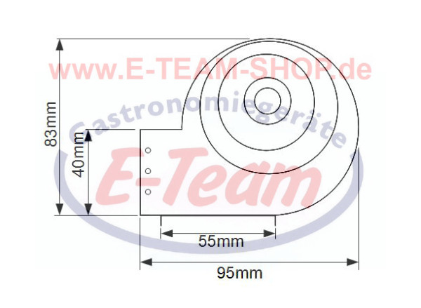 Querstroml/üfter TAS18B-002 von TRIAL 230V /Ø 60 mm universal Motor links Lager aus Silikon
